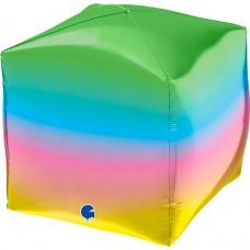 Шар 3D (18''/46 см) Куб, Радужный, 1 шт.