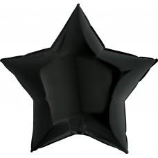 Шар (9''/23 см) Мини-звезда, Черный, 1 шт.