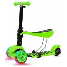 Самокат 3-в-1 со светящимися колесами для детей 1-9 лет, зеленый KB05-3