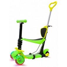 Самокат 4-в-1 со светящимися колесами для детей 1-9 лет, зеленый KB05B-3