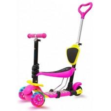 Самокат 4-в-1 со светящимися колесами для детей 1-9 лет, розовый KB05B-1