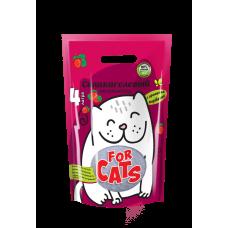 FOR CATS, силикагелевый наполнитель с ароматом клубники, 4 л.
