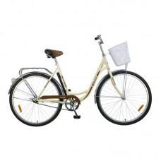 "Велосипед Foxx 28"" Vintage 18"", женский, цвет бежевый + передняя корзина"